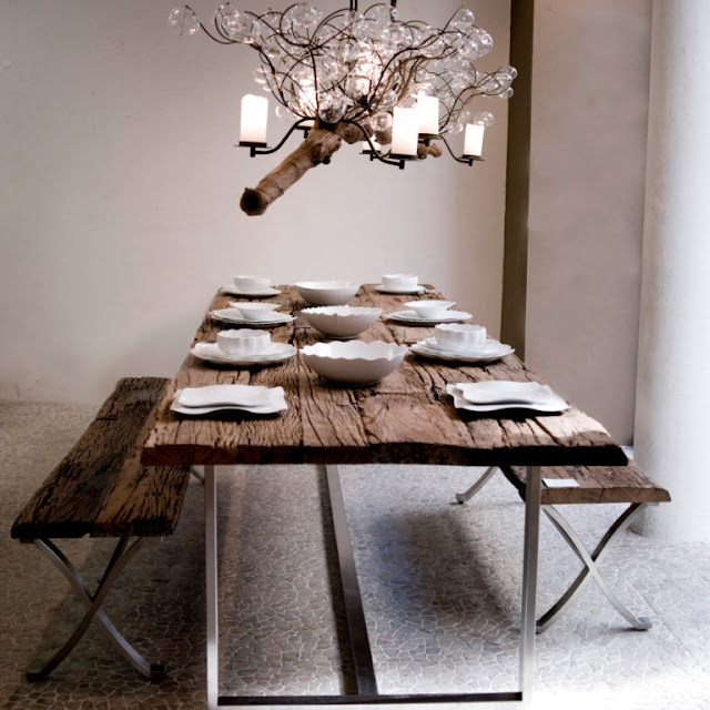 Muebles con troncos de madera espacios en madera - Mesas de tablones de madera ...