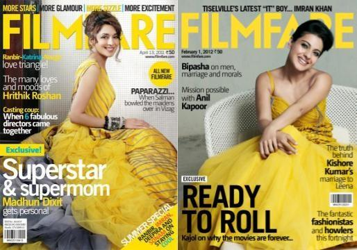 Madhuri Dixit &amp; Kajol on Filmfare Cover - Madhuri Dixit &amp; Kajol on Filmfare Cover in yellow Gowns
