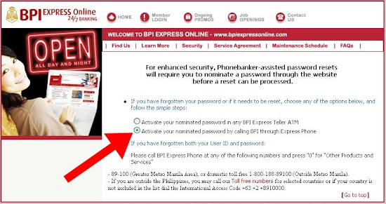 BPIExpressOnline password retrieval via Express Phone