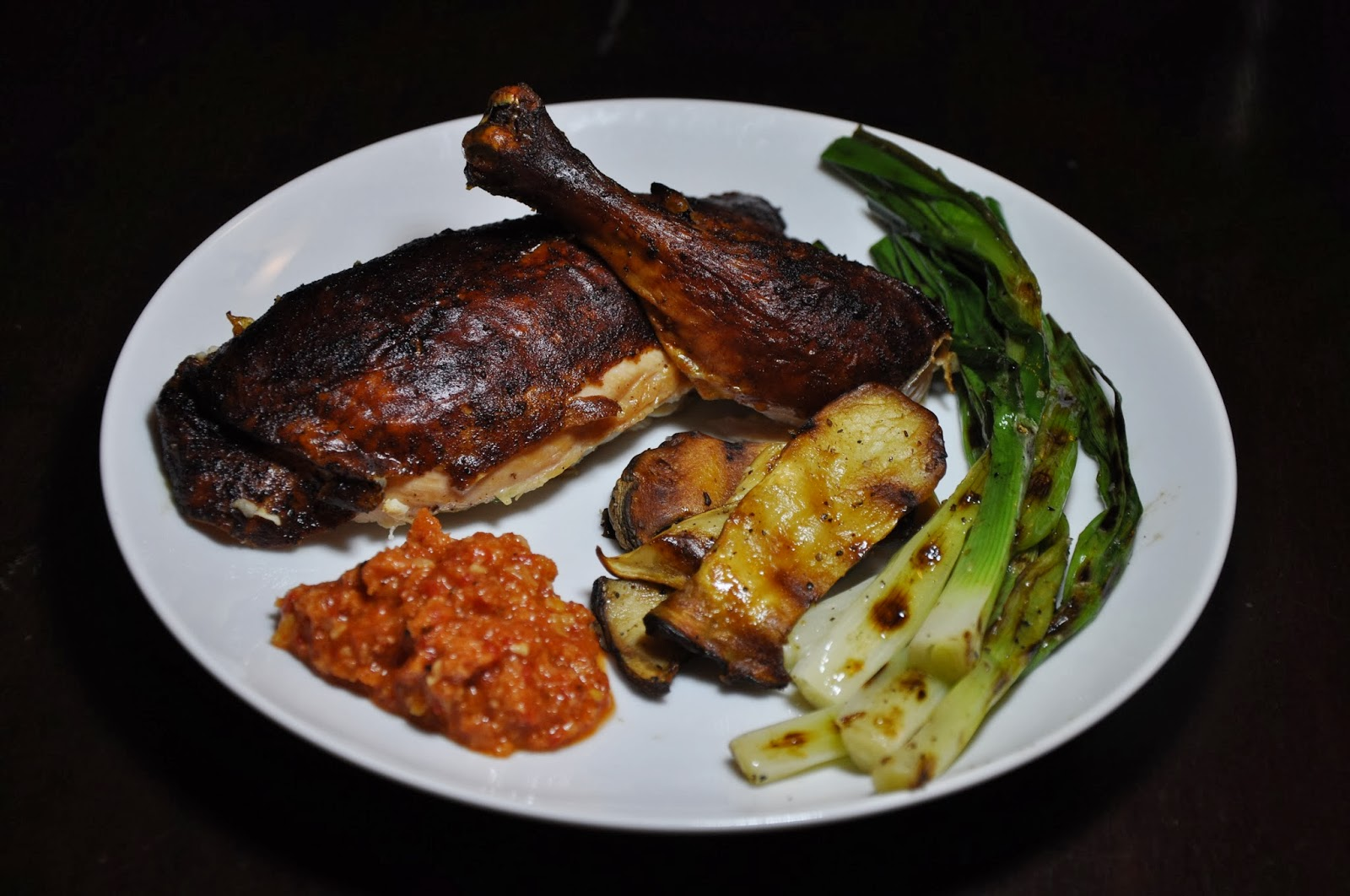 Slice of Rice: Spanish Roast Chicken with Romesco and Grilled Onions