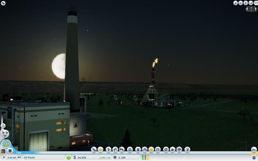 Нефтяной город ночью