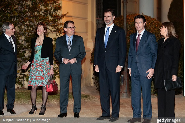 Major of Barcelona City Xavier Trias, Anne Bouverot, President of Catalonia's regional government Artur Mas, King Felipe VI of Spain, Minister of Industry and development Jose Manuel Soria and Maria de los LLanos de Luna attend the gala dinner for 'Mobile World Capital Barcelona' and 'GSMA' at the Palau de Pedralbes