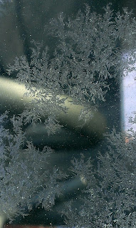 ice crystals formed on a window