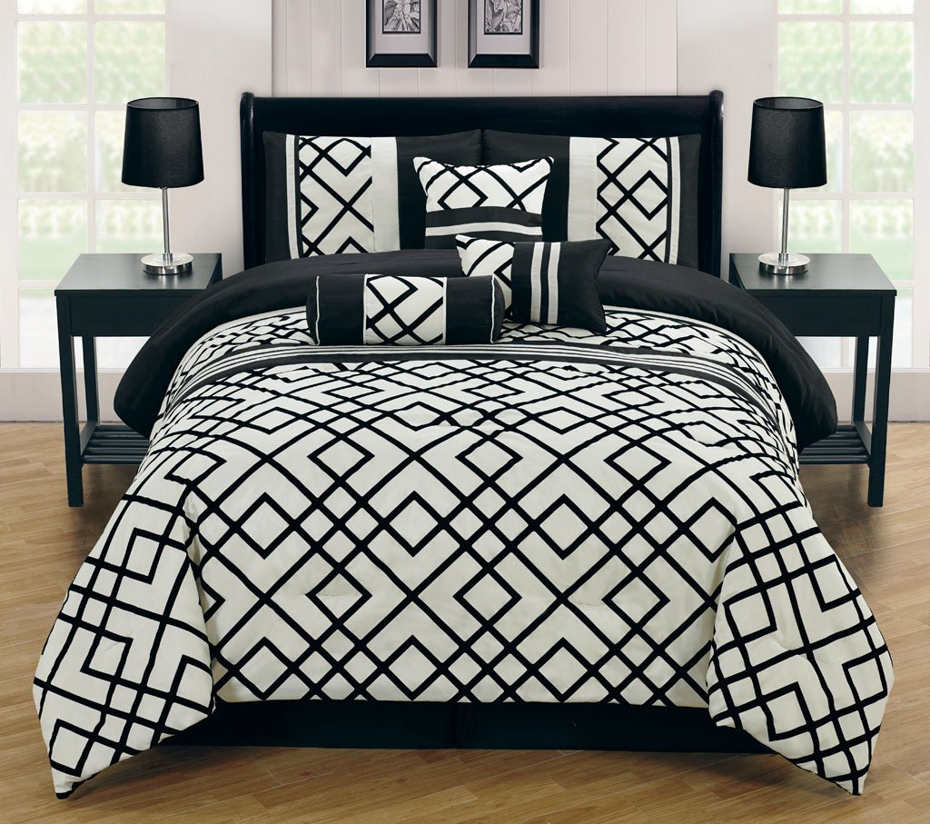 decor and comforter sets piece stratton king set room ivory black pin