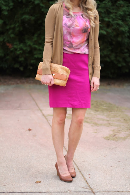 pink floral blouse, beige cardigan and pink pencil skirt