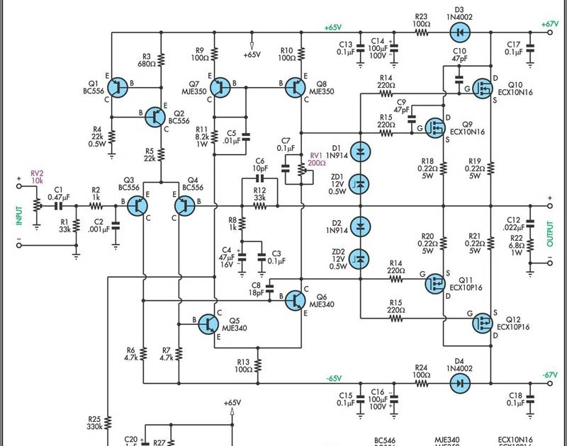 rangkaian 200w mosfet amplifier