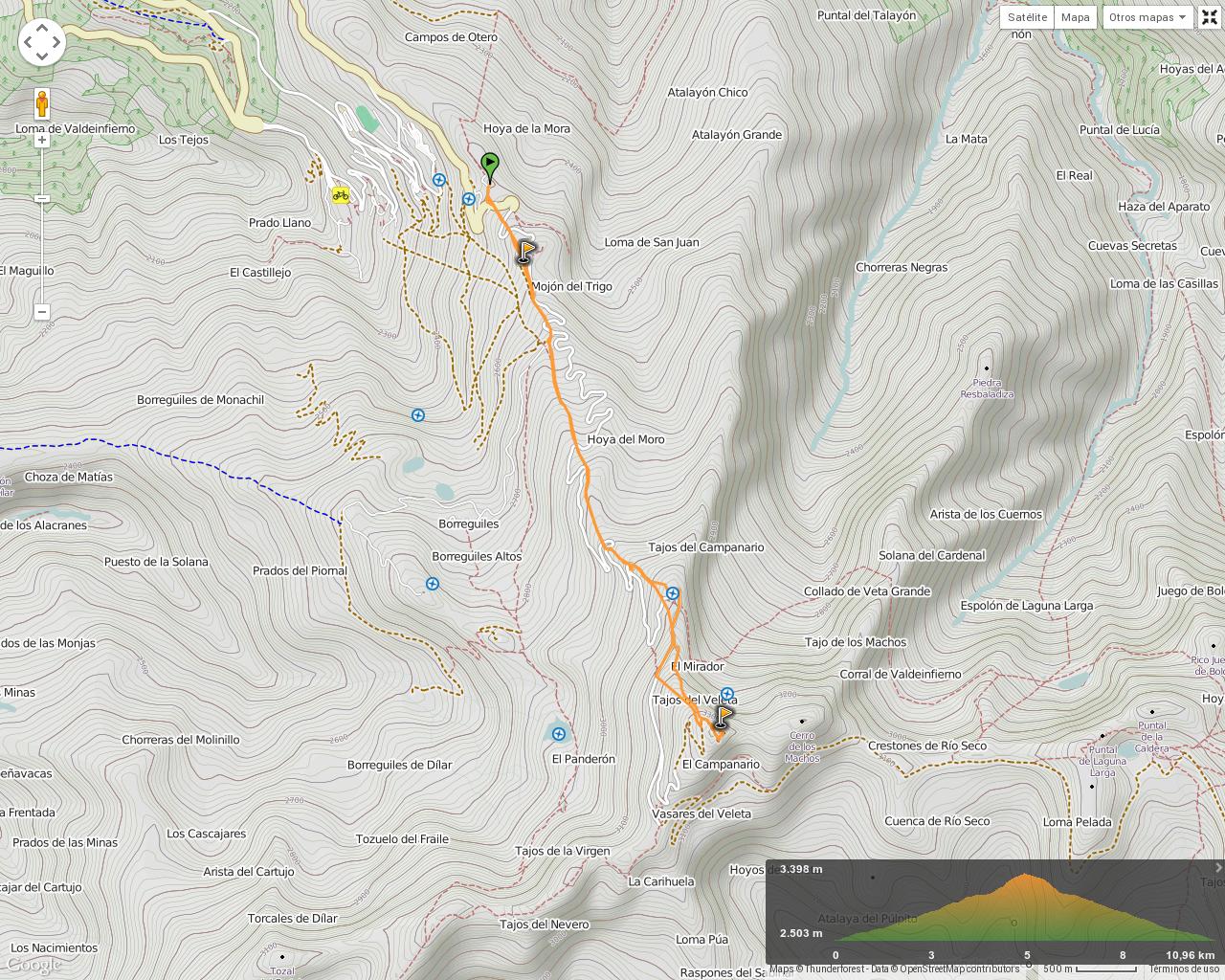 Ruta Hoya de la Mora al Pico Veleta: Mapa