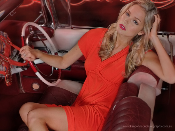 Renae Ayris, casual style behind the wheel, fashion story photoshoot with vintage Cadillacs, photographed by Kent Johnson.