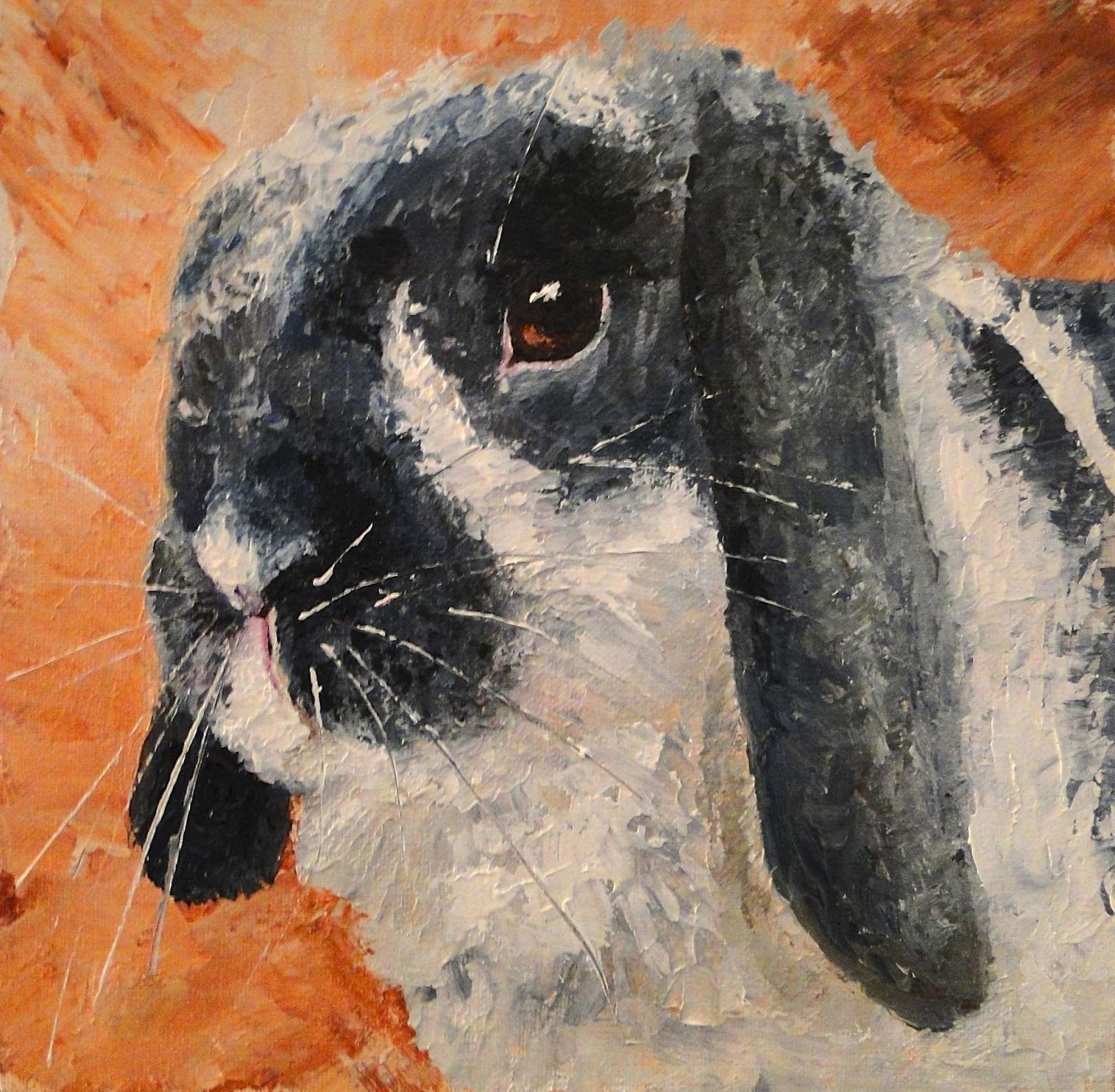 palette knife bunny, grey and white rabbit, palette knife rabbit, pet portrait by karen