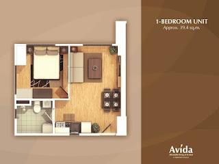 Avida Towers Altura One Bedroom Unit Plan