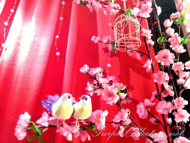 photo booth, sakura, cherry blossom, red, pink, gold, theme, wedding decoration, holiday inn kuala lumpur, glenmarie, subang, shah alam, decorator, online, website, package, affordable, bird cage, love birds