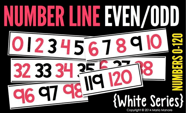 Number Line Even/Odd 0-120 White Series