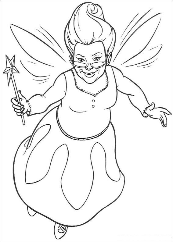 Shrek Coloring Pages Wicked Witch Fairy Godmother