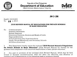 2010 deped revised manual regulations private schools