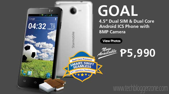 "Starmobile Goal: 1GHz Dual Core 4.5"" Android 4.0 Ice Cream Sandwich Smartphone For Php5,990 Only!"