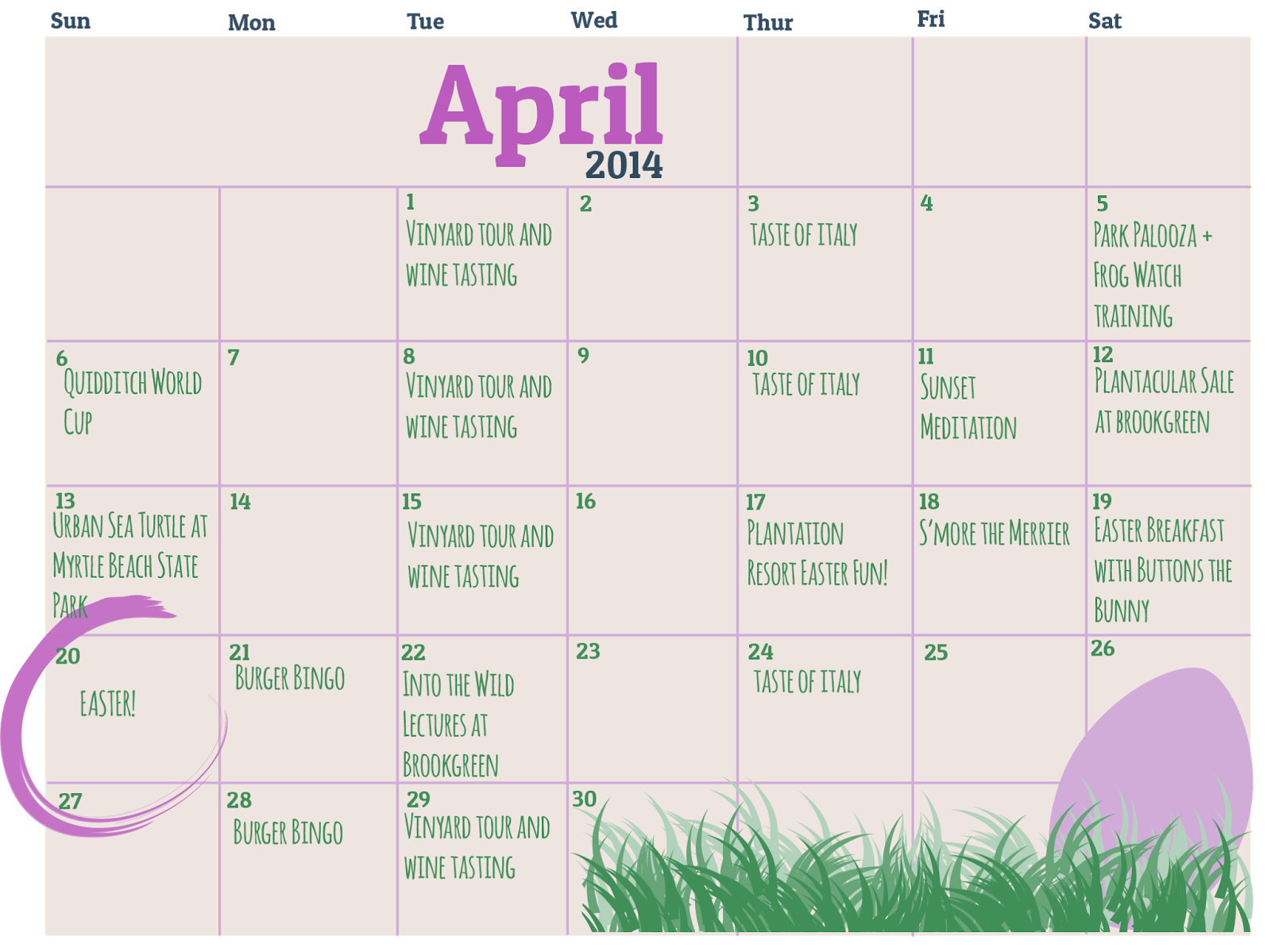 Calendar April Png : Plantation resort insider where you can play in myrtle