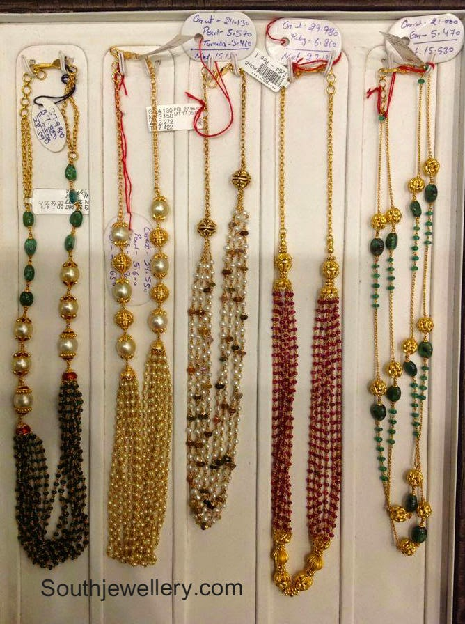 pearls and ruby beads necklaces