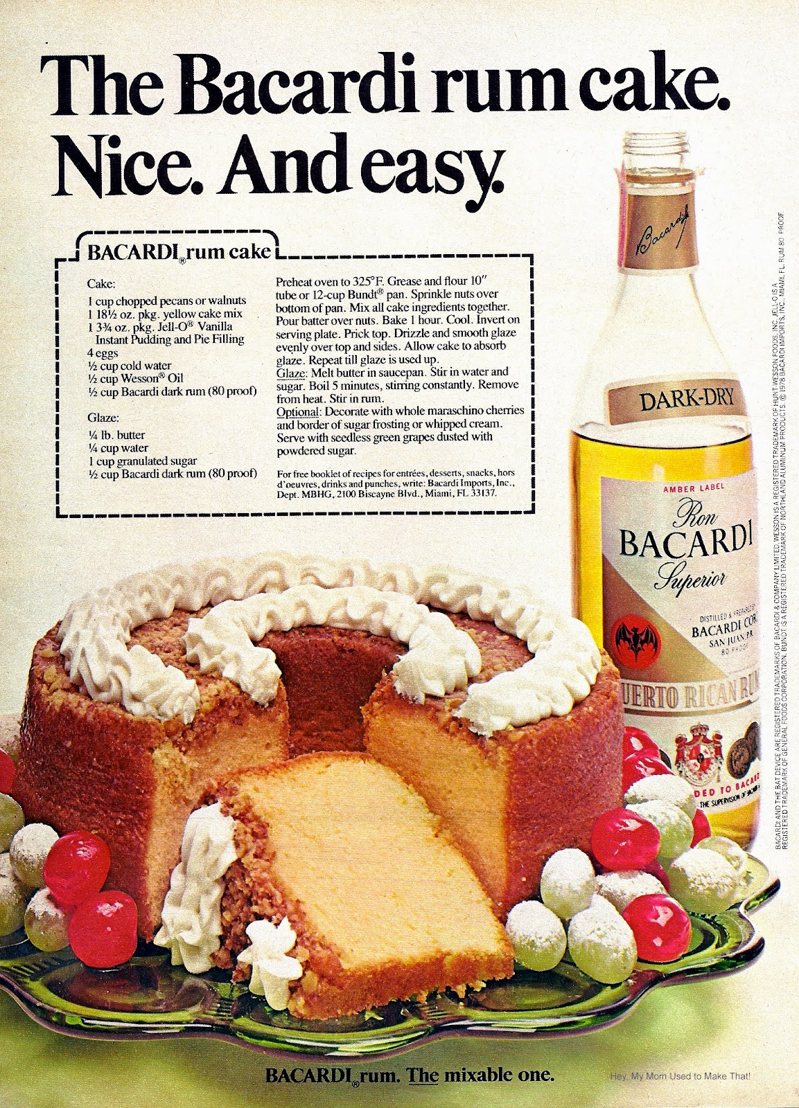 Chocolate Bacardi Rum Cake Original Recipe