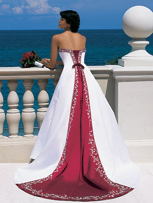 Goalpostlk White And Red Wedding Dresses