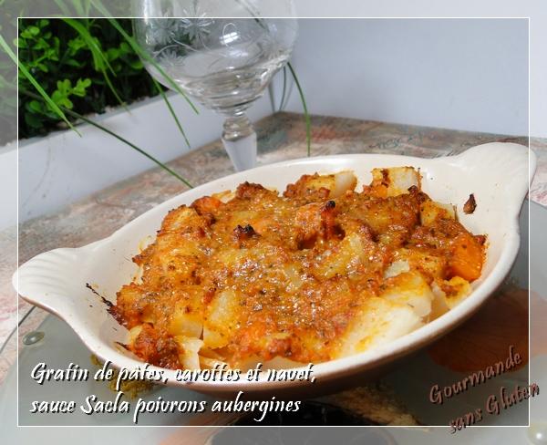 Gratin de pâtes navet et carottes, sauce SACLA aubergines et poivrons