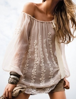 Boho lace top for ladies