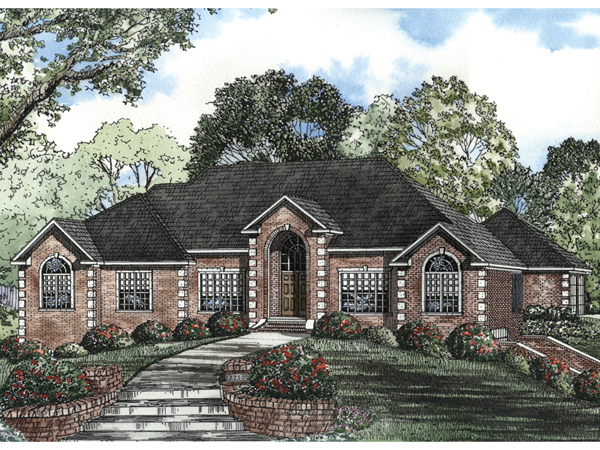 Brick vector picture brick ranch house plans for Classic ranch house plans