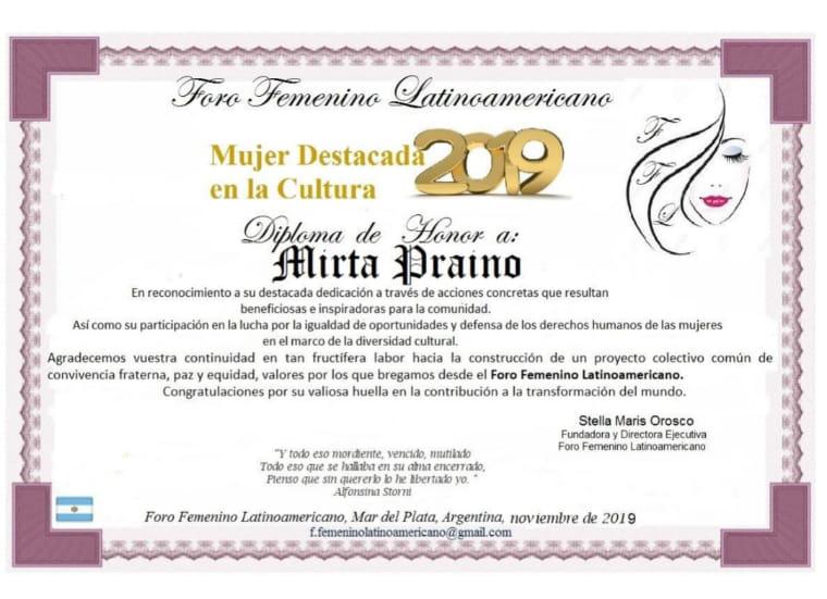 Mirta Praino elegida Mujer Destacada en la Cultura 2019 por el Foro Femenino Latinoamericano