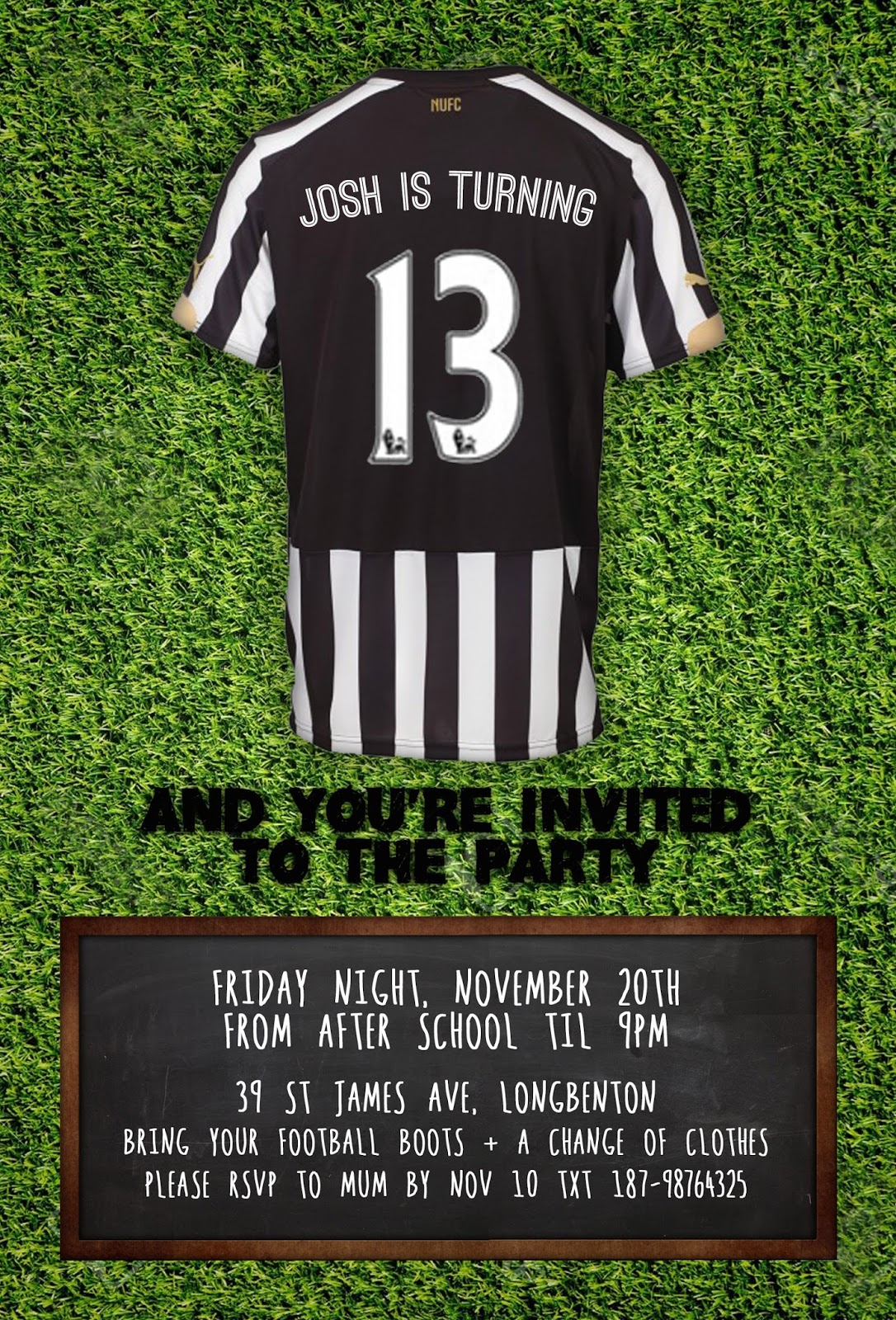 Great fun etc a bit of shameless self promotion my etsy shop newcastle united birthday party invitation stopboris