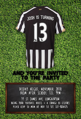 Newcastle united birthday party invitation