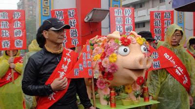 動保團體呼籲用創意豬、或一般方式飼養的豬祭拜,取消虐待動物的神豬重量比賽