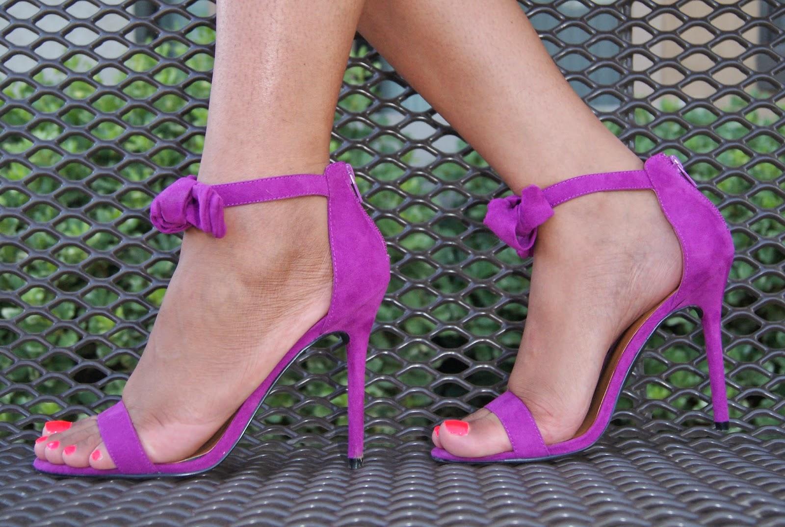 bow heels, purple heels, allthingsslim, nasty gal,