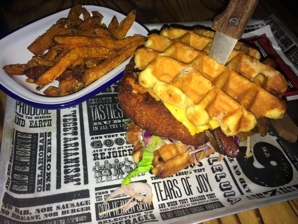waffles reds bbq leeds manchester nottingham burger chicken cheese sweet potato jalepenos sleepy james juicy lucifer retrolove