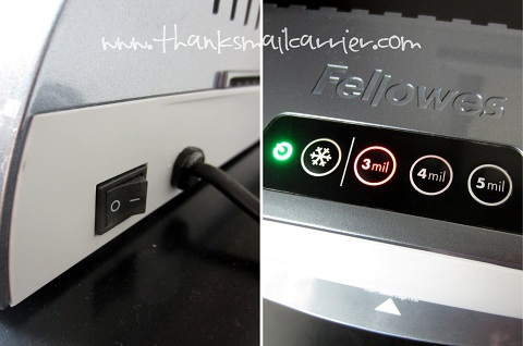 Fellowes laminator controls