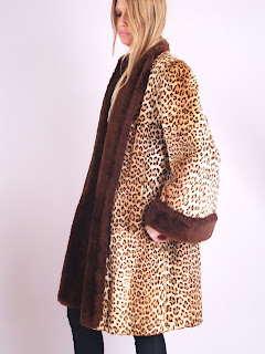 Vintage 1940's leopard print shearling fur coat with brown collar and cuffs