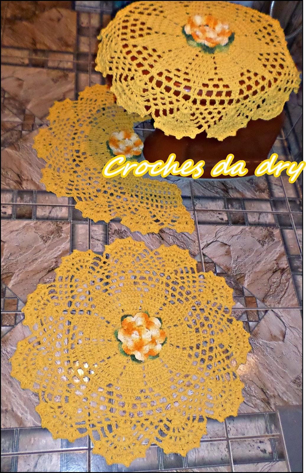 Croches da dry: JOGO DE BANHEIRO AMARELO REDONDO #B38218 1036x1600 Amarelo No Banheiro