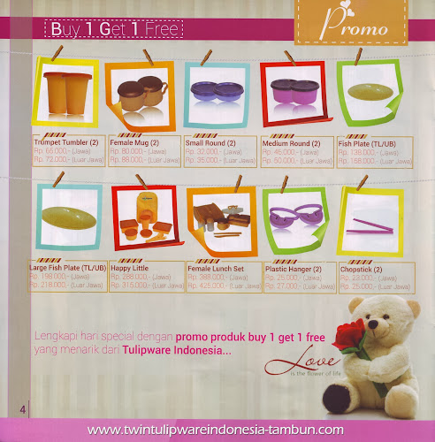 Promo Buy 1 Get 1 Free Tulipware | Januari - Februari 2014