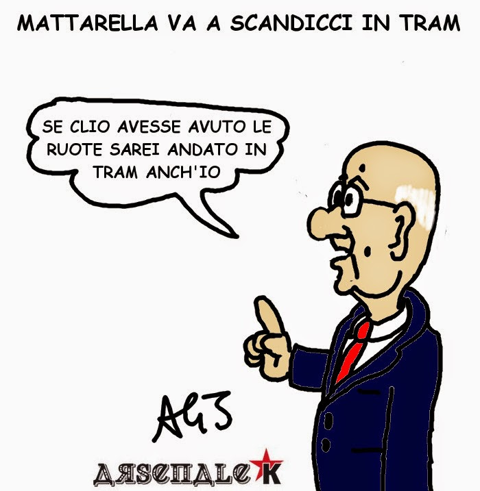 Mattarella, Napolitano, tram, satira , vignetta