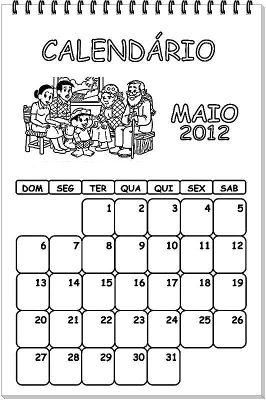 Pedagógiccos: Calendário 2014 para pintar (tema: Turma da