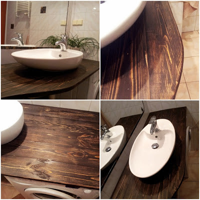 jak zrobić drewniane blat pod umywalkę,drewno w łazience jak zabezpieczyć, DIY blog krok po kroku majsterkowanie