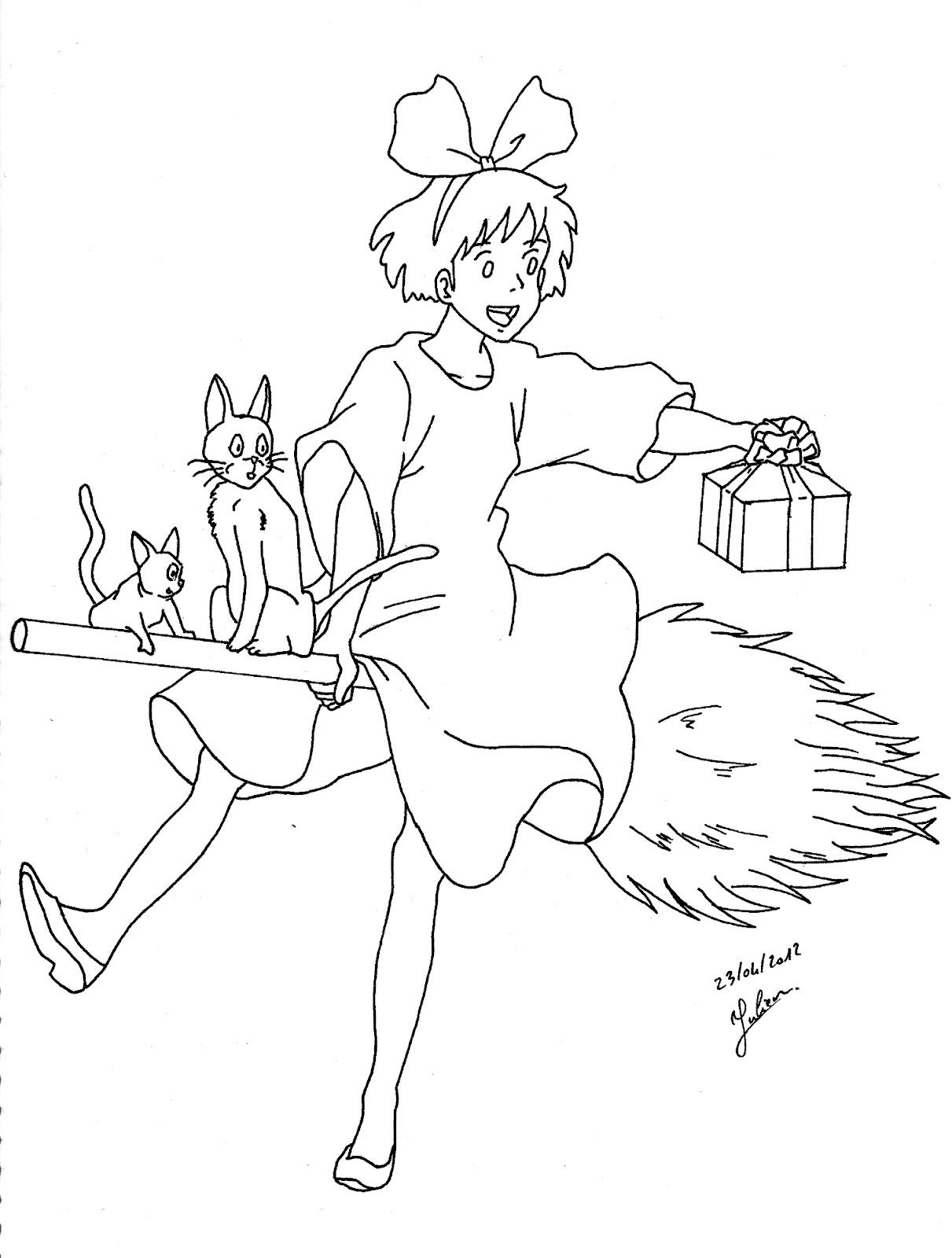Kiki et ses petits minous juju gribouille for Kiki s delivery service coloring pages