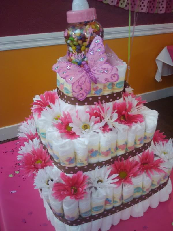 this is a diaper cake Christina made and Angie designed for the party ...