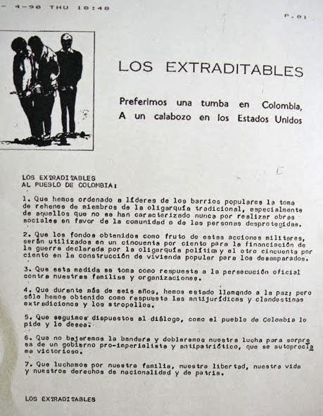 comunicado de Los Exraditables