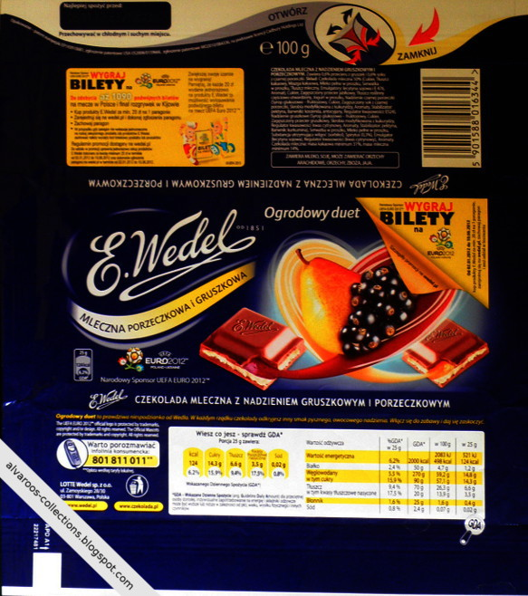 Chocolate wrappers collection - Wedel - pear & blackcurrant