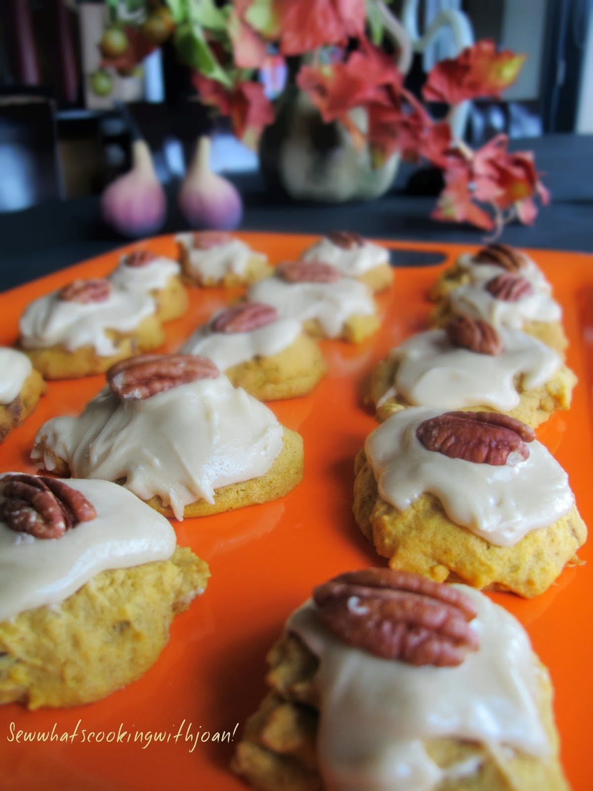 Sew what's cooking with Joan!: Pumpkin Cookies with Penuche frosting!