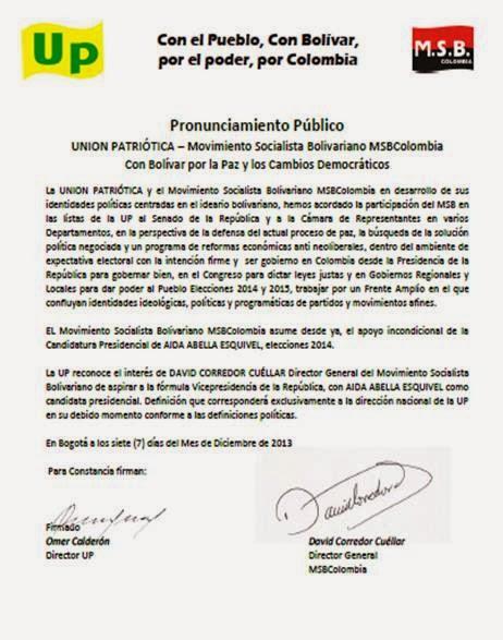 Acuerdo Político MSBColombia Unión Patriótica