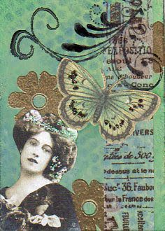 Vintage Lady and Butterfly ATC of mine