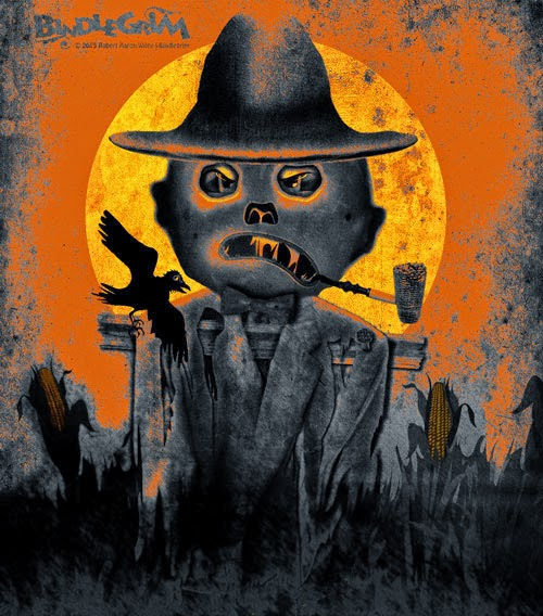 Vintage-style Halloween art for autumn decorations with creepy angry scarecrow in field under full moon in orange, black, yellow.