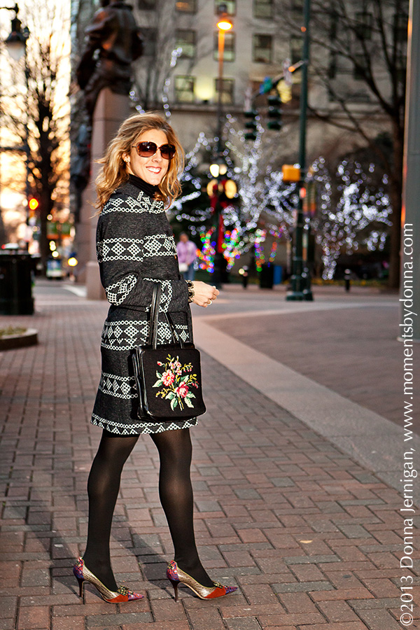 Great-Grandmother's Vintage suit, needlepoint purse, Cole Haan shoes, Blinde Sunglasses, J. Crew tights, CAbi turtleneck, Vintage jewelry, Tiffany's interlocking circles ring, Diamonds Direct bands, Donna Jernigan Photography, Moments by Donna, the Queen City Style, Uptown Charlotte, NC, Trade/Tryon Streets