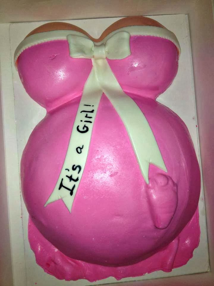 pink its a girl baby bump cake