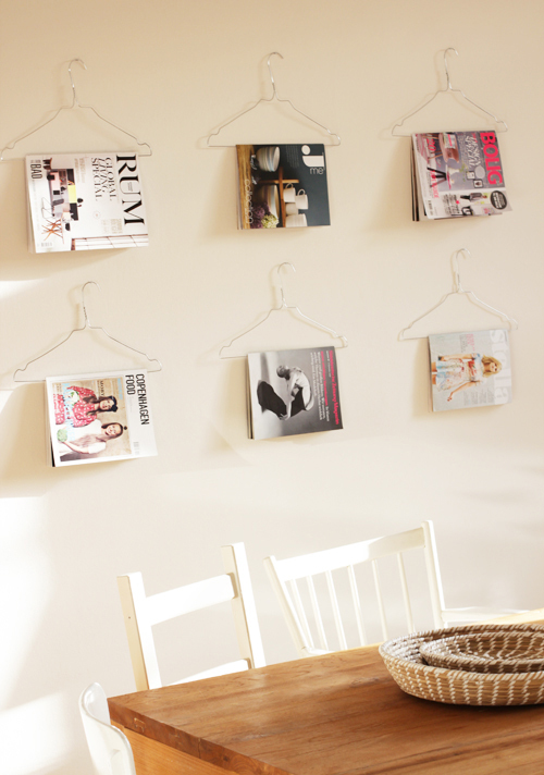 wire coat hanger magazine holders